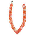 Estate Jewelry:Necklaces, Coral, Marcasite, Silver Necklace. ...