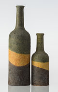 Ceramics & Porcelain, Continental, Marcello Fantoni (Italian, 1915-2011). Two Vases, circa1955, Raymor. Glazed stoneware. 12 x 3-1/2 inches (30.5 x 8.9 cm...(Total: 2 Items)