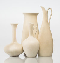 Gunnar Nylund (Swedish, 1904-1997) Two Vases and Two Pitchers, circa 1940, Rörstrand Glazed stonewar