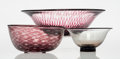 Edward Hald (Swedish, 1883-1980) Three Graal Bowls, Orrefors Glass 3-1/4 x 10-5/8 inches (8.3 x 2