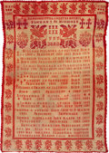 Political:Textile Display (pre-1896), Benjamin Harrison: 1889 Presidential Tapestry From Wiscons...