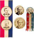 Political:Pinback Buttons (1896-present), William Jennings Bryan: Buttons and Jugate Ribbon....