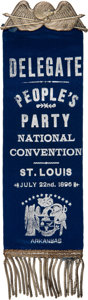 Political:Ribbons & Badges, [William Jennings Bryan]: 1896 People's Party Convention Ribbon Badge....