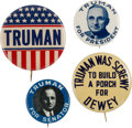 Political:Pinback Buttons (1896-present), Harry S Truman and Thomas Dewey: Four Campaign Buttons....