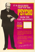 "Movie Posters:Hitchcock, Psycho (Paramount, 1960). Fine/Very Fine on Linen. Poster (40"" X 60"") Showtime Style.. ..."