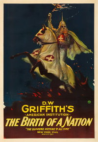 "The Birth of a Nation (Epoch Producing, R-1921). Fair/Good on Linen. One Sheet (28"" X 41"")"