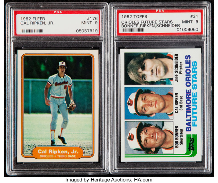 1982 Fleer 1982 Topps Cal Ripken Jr Psa Mint 9 Graded