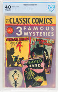 Golden Age (1938-1955):Classics Illustrated, Classic Comics #21 Three Famous Mysteries - First Edition (Gilberton, 1944) CBCS VG 4.0 Off-white to white pages....