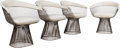 Warren Platner (American, 1919-2006) Four Arm Chairs, circa 1966, Knoll Bronzed steel, upholstery
