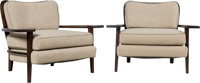 Paul László (Hungarian/American, 1900-1993) Pair of Arm Chairs, circa 1940 Lacquered wood, upholster