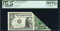 Error Notes:Foldovers, Printed Foldover Fr. 1907-E $1 1969D Federal Reserve Note. PCGSChoice About New 58PPQ.. ...