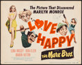 "Movie Posters:Comedy, Love Happy (United Artists, R-1953). Very Fine-. Title Lobby Card (11"" X 14"") Al Hirschfeld Artwork. Comedy.. ..."
