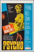 "Movie Posters:Hitchcock, Psycho (Paramount, R-1965). Folded, Very Fine-. One Sheet (27"" X 41""). Hitchcock.. ..."