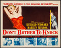 "Movie Posters:Film Noir, Don't Bother to Knock (20th Century Fox, 1952). Very Fine. TitleLobby Card (11"" X 14""). Film Noir.. ..."