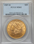 Liberty Double Eagles: , 1907-D $20 MS62 PCGS. PCGS Population: (729/1464). NGC Census: (662/969). MS62. Mintage 842,250. ...