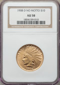 Indian Eagles: , 1908-D $10 No Motto AU58 NGC. NGC Census: (391/547). PCGS Population: (320/677). CDN: $875 Whsle. Bid for problem-free NGC/...