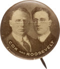 Political:Pinback Buttons (1896-present), Cox & Roosevelt: Highly Desirable Sepia Jugate. . ...