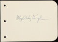 Autographs:Index Cards, Arky Vaughan Signed Album Page....