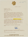 "Autographs:U.S. Presidents, Donald J. Trump: A Fine 1986 Typed Letter Signed ""Donald"" with GoodContent [TLS]...."