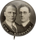 "Political:Pinback Buttons (1896-present), Cox & Roosevelt: An Almost Certainly Unique Black and White Variant of the Customarily Brown Whitehead and Hoag 7/8"" Jugate...."