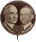 "Political:Pinback Buttons (1896-present), Harding & Coolidge: A Rare 7/8"" Jugate Variety...."