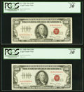 Small Size:Legal Tender Notes, Fr. 1550 $100 1966 Legal Tender Notes. Two Examples. PCGS Very Fine 30.. ... (Total: 2 notes)
