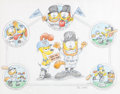 """Animation Art:Production Drawing, Garfield and Odie """"Subway Series"""" Baseball-Themed Illustration Original Art, Signed by Jim Davis (PAWS, 2000)...."""