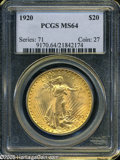 Saint-Gaudens Double Eagles: , 1920 $20 MS64 PCGS. ...