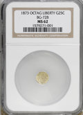 California Fractional Gold: , 1873 25C Liberty Octagonal 25 Cents, BG-728, R.3, MS62 NGC. NGCCensus: (3/9). PCGS Population (11/141). (#10555)...