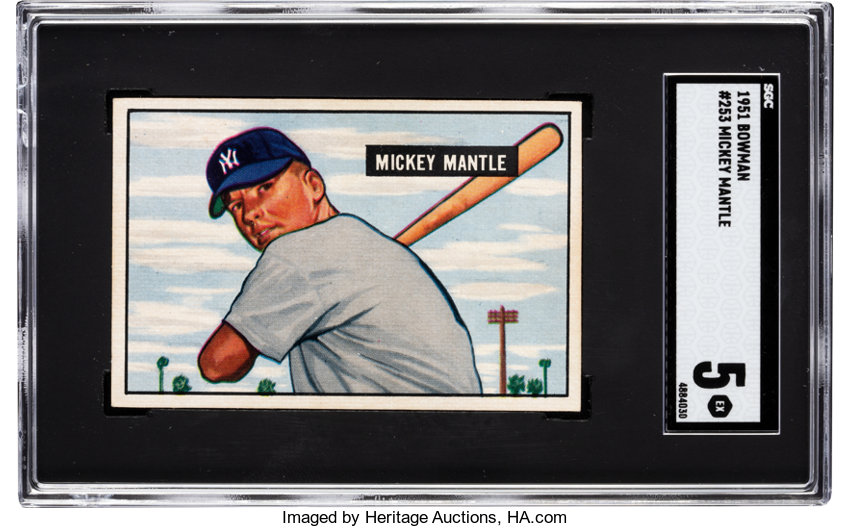 1951 Bowman Mickey Mantle 253 Sgc Ex 5 In The Post World