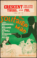 """Movie Posters:Crime, The Solitaire Man (MGM, 1933). Fine+. Window Card (14"""" X 22""""). Crime.. ..."""