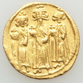 Ancients:Byzantine, Ancients: Heraclius (AD 610-641), with Heraclius Constantine andHeraclonas. AV solidus (19mm, 4.44 gm, 6h). VF, edge marks....