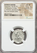 Ancients:Roman Imperial, Ancients: Vespasian (AD 69-79). AR denarius (21mm, 3.43 gm, 6h).NGC Choice VF 4/5 - 3/5, flip-over double strike....