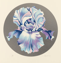Lowell Nesbitt (1933-1993) Iris on Silver, 1981 Screenprint in colors on paper 27 x 25-1/2 inches