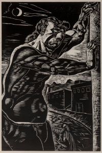 Peter Howson (b. 1958) The Lonely Hero, 1987 Woodcut on two sheets of wove paper 70-1/8 x 46-1/4