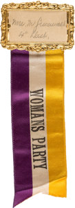 Political:Ribbons & Badges, Woman's Suffrage: Unusual Ribbon Badge.. ...
