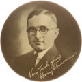 """Political:Pinback Buttons (1896-present), Harry S Truman: The Very Rare 4"""" 1922 District Judge Button in Superb Condition..."""