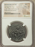 Ancients:Byzantine, Ancients: Anonymous. Class D. Time of Constantine IX (ca. AD1042-1060). AE follis (31mm, 11.17 gm, 5h). NGC AU 4/5 - 4/5....