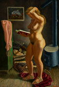 Fine Art - Painting, American, Joseph Meert (American/Belgian, 1905-1990). Standing Nude in anInterior, 1941. Oil on canvas. 40 x 28 inches (101.6 x 7...