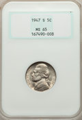 Jefferson Nickels, 1947-S 5C MS65 NGC. NGC Census: (164/403). PCGS Population: (504/256). CDN: $9 Whsle. Bid for problem-free NGC/PCGS MS65. M...