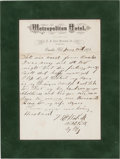 "Western Expansion:Cowboy, James Butler ""Wild Bill"" Hickok: Perhaps the Most Important Known Autograph Letter Signed from this Old West Legend.. ..."