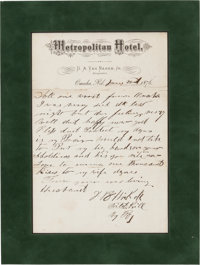 "James Butler ""Wild Bill"" Hickok: Perhaps the Most Important Known Autograph Letter Signed from this Old West L..."