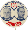 Political:Pinback Buttons (1896-present), Franklin D. Roosevelt & Lyndon B. Johnson: Great Coattail Jugate in Choice Condition. ...
