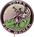 Political:Pinback Buttons (1896-present), Woman's Suffrage: Boldly Colored Trumpeter Button.. ...