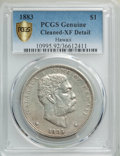 Coins of Hawaii , 1883 $1 Hawaii Dollar -- Cleaning -- PCGS Genuine Gold Shield. XFDetails. NGC Census: (75/328 and 0/3+). PCGS Population: ...
