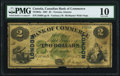 Canadian Currency, Toronto, ON- Canadian Bank of Commerce $2 1.5.1867 Ch.# 75-10-04a London Overprint PMG Very Good 10.. ...