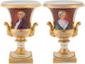 Political:3D & Other Display (pre-1896), George and Martha Washington: A Lovely Pair of 19th CenturyHand-Painted Paris Porcelain Campagna Urns.... (Total: 2 Items)