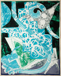 Fine Art - Work on Paper:Print, Frank Stella (b. 1936). Swan Engraving Blue, Green, Grey,from Swan Engravings, 1984. Etching with relief andgraphi...