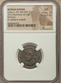Ancients:Roman Imperial, Ancients: Julian II, as Augustus (AD 360-363). AE3 or nummus (20mm, 3.16 gm, 12h). NGC MS 5/5 - 4/5....