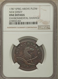 1787 COPPER New Jersey Copper, Sprig Above Plow -- Environmental Damage -- NGC Details. Fine. NGC Census: (0/0). PCGS Po...